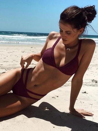 Burgundy Bikini Swimsuit Sleeveless Strappy Spaghetti Straps Two Piece Women's Bathing Suits