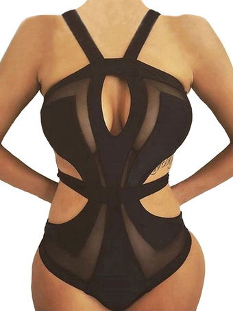 Black Monokini Swimsuit Sleeveless Tulle Semi Sheer Cut Out One Piece Women's Bathing Suits