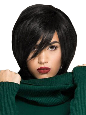 Human Hair Wigs Women's Black Straight Layered Short Hair Wigs With Side Bangs
