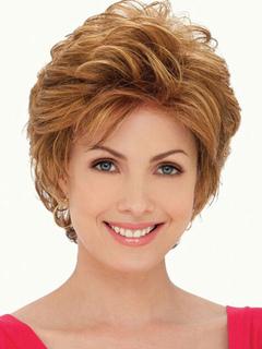 Human Hair Wigs Women Gold Layered Short Curly Hair Wigs