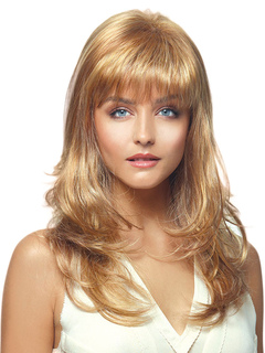 Women's Blonde Wigs Tousled Long Curly Human Hair Wigs With Bangs
