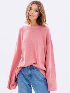 Pink Pullover Sweater Round Neck Long Sleeve Split Back Tie Oversized Women's Knit Sweater