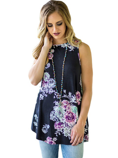 Black Tank Top Crewneck Sleeveless Floral Print Women's Casual Top