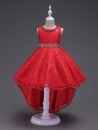 c8673d41237 Flower Girl Dresses Red Lace Princess Pageant Dresses Beading Kids Social  Party Dresses With Train