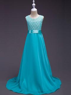 3a6d00814ef Flower Girl Dresses Chiffon Light Blue Dinner Party Dresses Lace Ribbon  Sash Kids Social Dresses