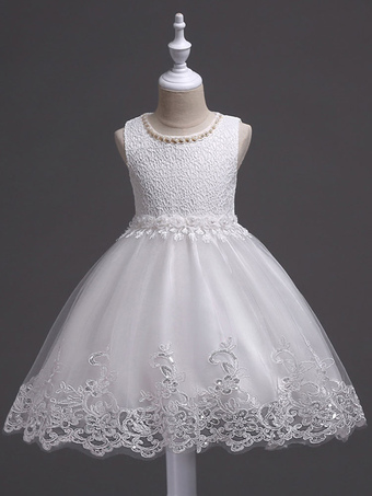 8b46bc74f806 White Flower Girl Dresses Tutu Kids Dinner Party Dresses Lace Applique  Pearls Tassels Princess Social Dresses