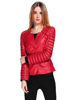 Women Leather Jacket Red Long Sleeve Leather Coat