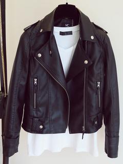 Women Leather Jacket Black Long Sleeve Turndown Collar Motorcycle Jacket