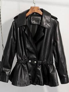Black Moto Jacket Turndown Collar Long Sleeve Peplum Women's Punk Leather Jacket