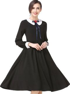 Black Vintage Dress Peter Pan Collar Long Sleeve Flowers Two Tone Pleated Women's Dresses