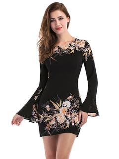 Black Mini Dress Round Neck Long Sleeve Chiffon Floral Print Women's Short Dresses