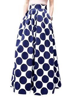 Blue Summer Skirt Polka Dot Print Long Skirt For Women