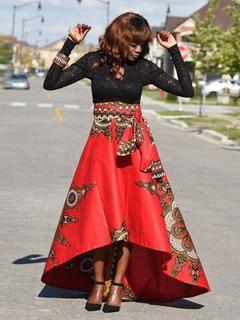 Red Women's Skirt Printed High Low Long Skirt
