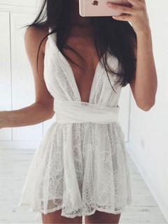 White Mini Dress Plunging Neck Sleeveless Lace Cross Back Short Dresses For Women