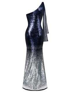 Women's Party Dress Deep Blue One Shoulder Sleeveless Sequined Tulle Long Dresses