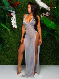 Grey Club Dress V Neck Sleeveless Split Women's Long Dresses