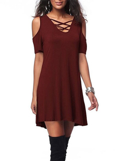 Burgundy Shift Dress V Neck Lace Up Cold Shoulder Short Sleeve Cut Out Criss Cross Women's Short Dresses
