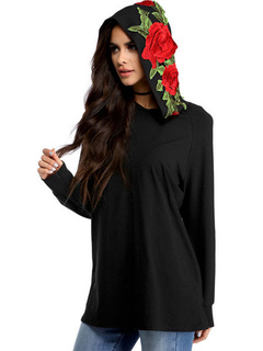 Women Black Hoodie Long Sleeve Floral Embroidered Cotton Sweatshirts