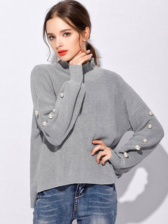 Grey Pullover Sweater High Collar Long Sleeve Pearls Women's Casual Sweater