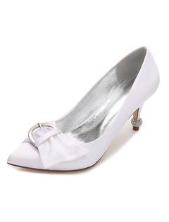 Zapatos de punter Peep Toe de tacón gordo de seda y satén elegantes para boda 5oTaYzld