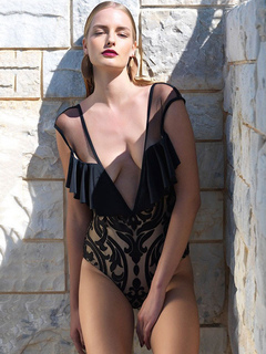 Sexy Black Bodysuit Plunging Neckline Sleeveless Frill Semi Sheer Women's Top