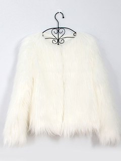 Faux Fur Coat Long Sleeve White Overcoat Women Faux Fur Jacket