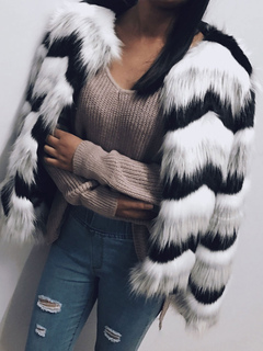 Faux Fur Coat Color Block Wavy Striped Long Sleeve  White Overcoat Women