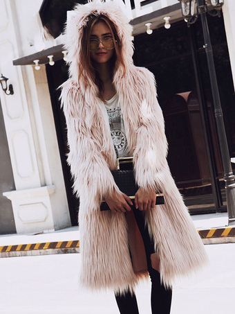 Faux Fur Coat Long Sleeve Hooded Long Women Pink Coat