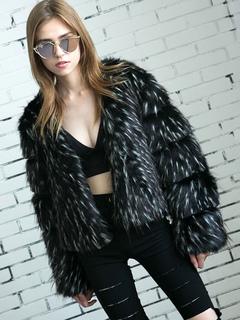 Faux Fur Jacket Winter Black Long Sleeve Jacket For Women