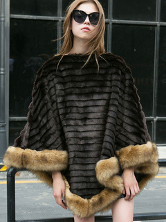 Women Black Poncho Faux Fur Piping Long Sleeve  Striped  Poncho Wrap