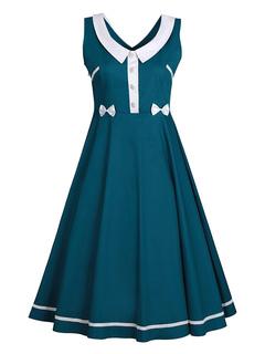 Women Vintage Dress Skater Dress Green V Neck Sleeveless Pleated A Line Dress