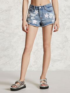 Blue Denim Shorts Ripped Edging Starlet Patch Women's Casual Short Jeans