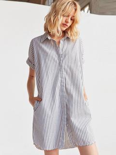 Grey Shirt Dress Turndown Collar Short Sleeve Striped Women's Short Dresses