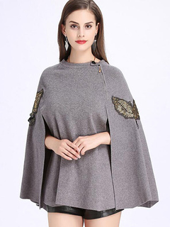Women Wool Poncho Long Sleeve Half Zip Slit Embroidered Wrap Poncho