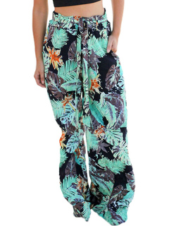 Light Green Pants Floral Print Wide Leg Women's Long Pants
