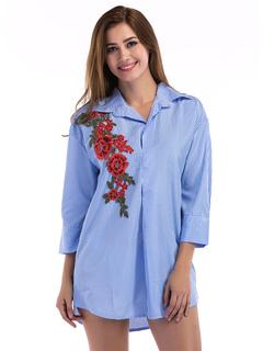 Blue Shirt Dress Turndown Collar Striped Embroidered 3/4 Length Sleeve Short Dresses For Women
