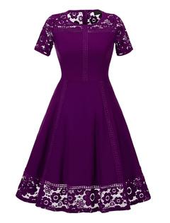 Women's Vintage Dress Purple Lace Patch Short Sleeve Pleated Retro Flare Dress