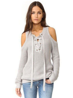 Women's Grey Sweater Cold Shoulder Lace Up Long Sleeve Casual Pullover Sweater