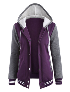 Women Casual Hoodie Long Sleeve Color Block Button Up Sport Jacket
