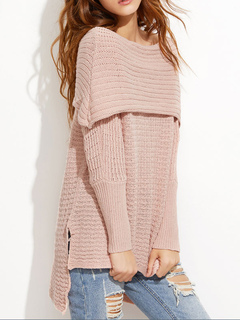 Soft Pink Sweater Off The Shoulder Long Sleeve High Low Split Women's Pullover Sweater