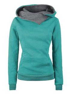 Green Pullover Hoodies Hooded Long Sleeve Two Tone Sweatshirt For Women