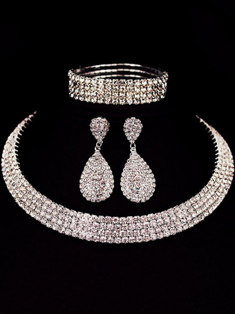 Luxurious Jewelry Set Silver Rhinestones Choker With Drop Earrings And Bracelet