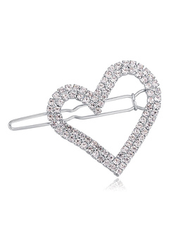 Women's Silver Hairpin Rhinestones Sweetheart Hollow Out Alloy Hair Accessory
