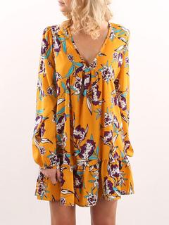 Yellow Shift Dress Oversized V Neck Long Sleeve Ruffles Pleated Women's Short Dress