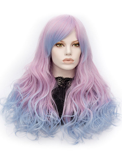 Women's Carnival Wigs Lilac Ombre Long Curly Layered Synthetic Wigs With Side Bangs