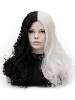 Carnival Hair Wigs White Two Tone Long Natural Tousled Synthetic Wigs