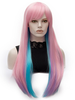Pink Carnival Wigs Highlighting Side Swept Bangs Layered Straight Long Holiday Wigs