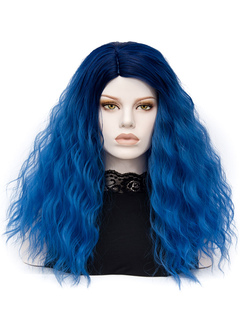 Carnival Hair Wigs Royal Blue Long Tousled Crimp Curls Women's Holiday Wigs