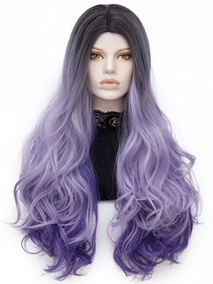 Purple Carnival Wigs Women's Ombre Long Curly Layered Natural Wave Holiday Wigs