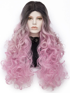 Women's Carnival Wigs Pink Ombre Long Curly Layered Synthetic Wigs